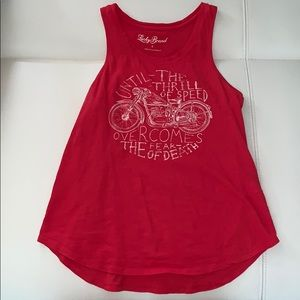 Lucky Brand motorcycle tank top tee red logo shirt